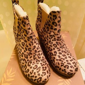 New In Box leopard wedge booties!